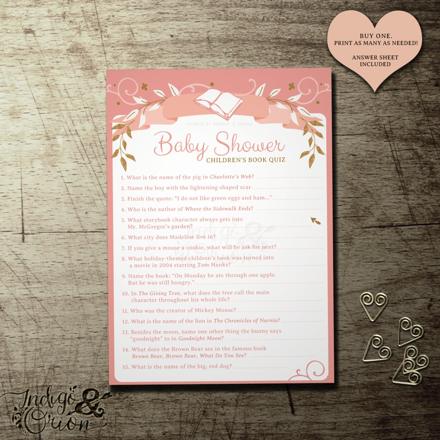 Baby Shower Children S Book Quiz Once Upon A Time Design