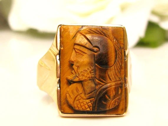 Art Deco Tigers Eye Carved Soldier Ring 10K Yellow Gold