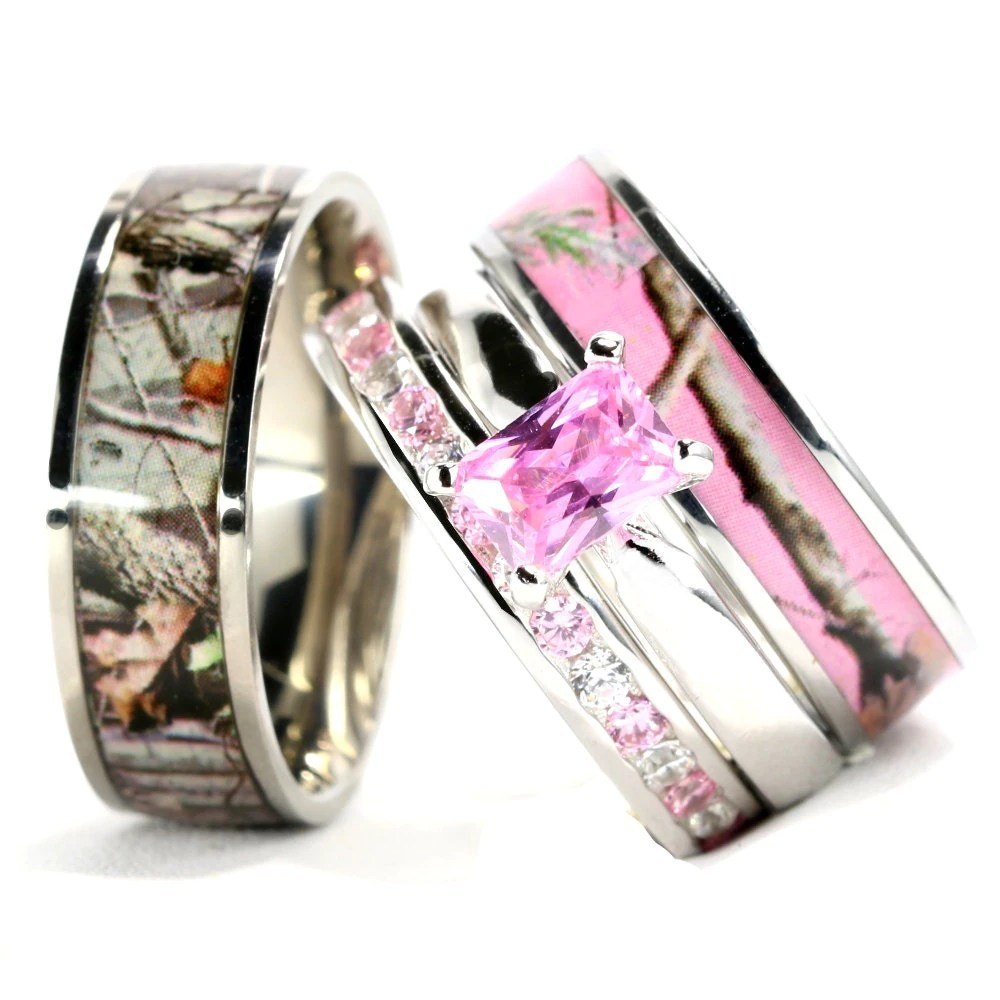 His And Hers Camo Pink Radiant Stainless Steel Sterling
