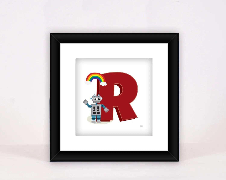 Letter Art Llustrated Alphabet Letter R Robot With
