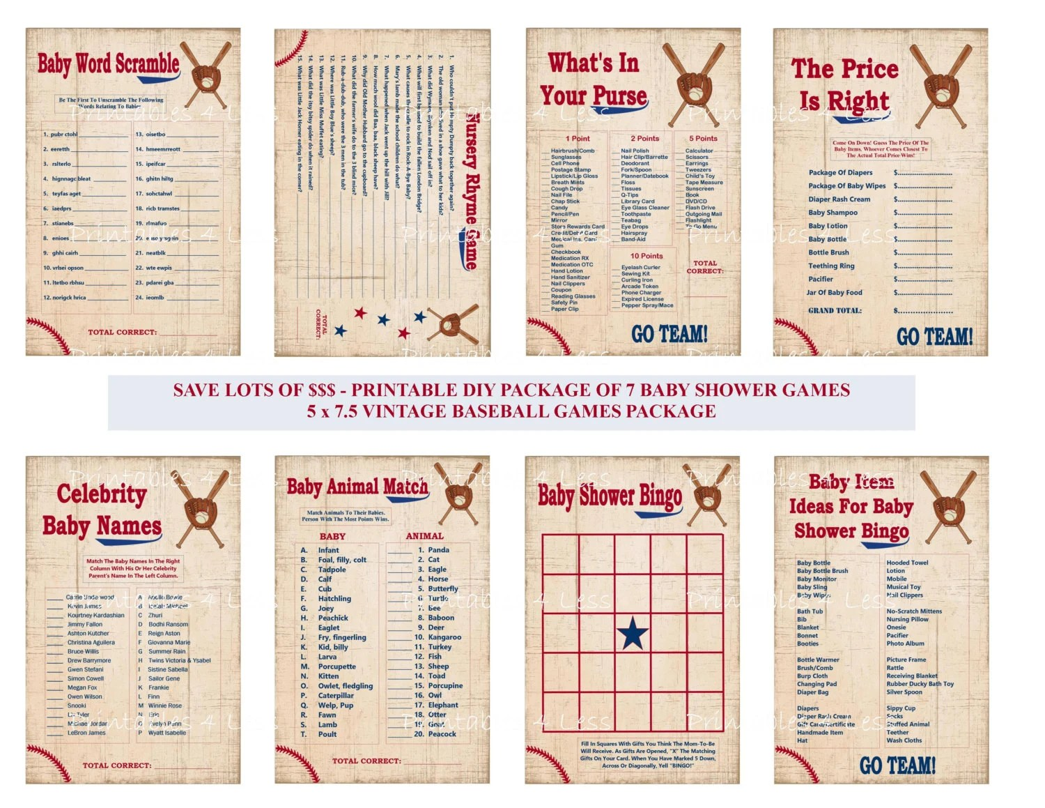 Vintage Baseball Baby Shower Game Printable Baseball Game