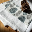 The Great Outdoors Tea Towel - pinecone decorative grey blue smoke gray nature cotton kitchen towel dish towel