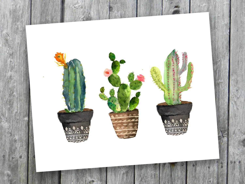 Printable Art Cacti Art Print Watercolor Cactus