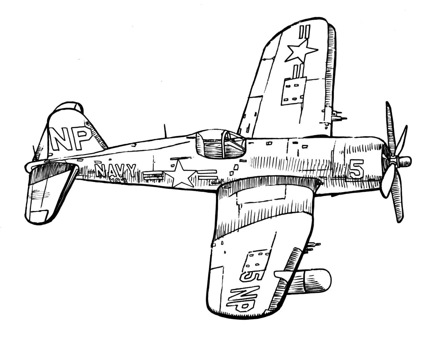War Plane Style Vintage Airplane Ink Drawing Clipart Ready For