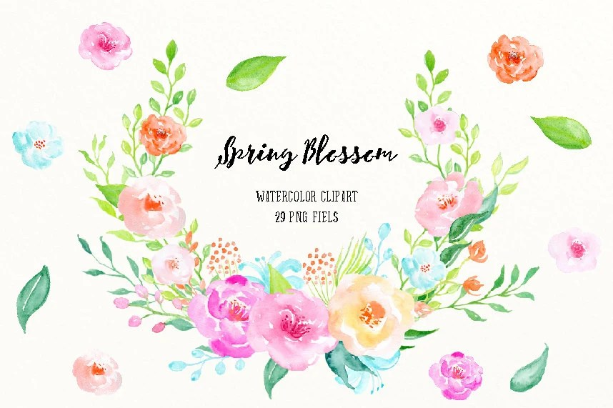 Watercolor Clipart Spring Blossom Spring Flowers And
