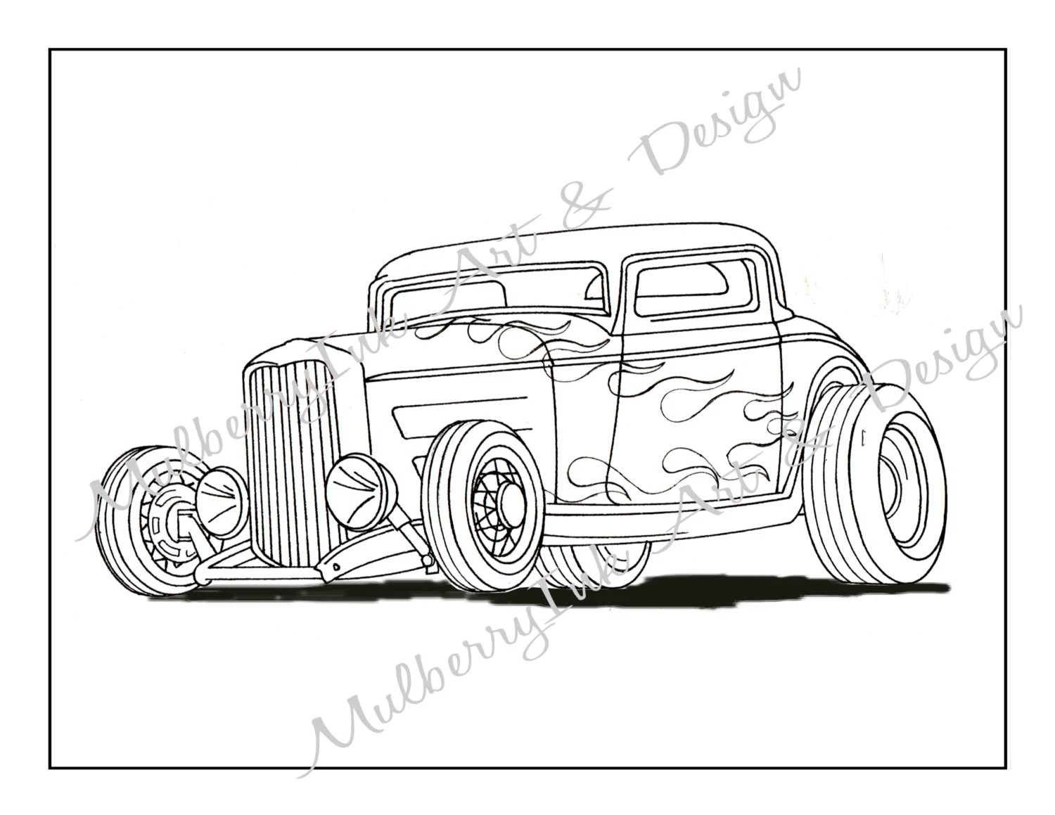 Coloring Page Classic Car Coloring Page Hot Rod Coloring Page