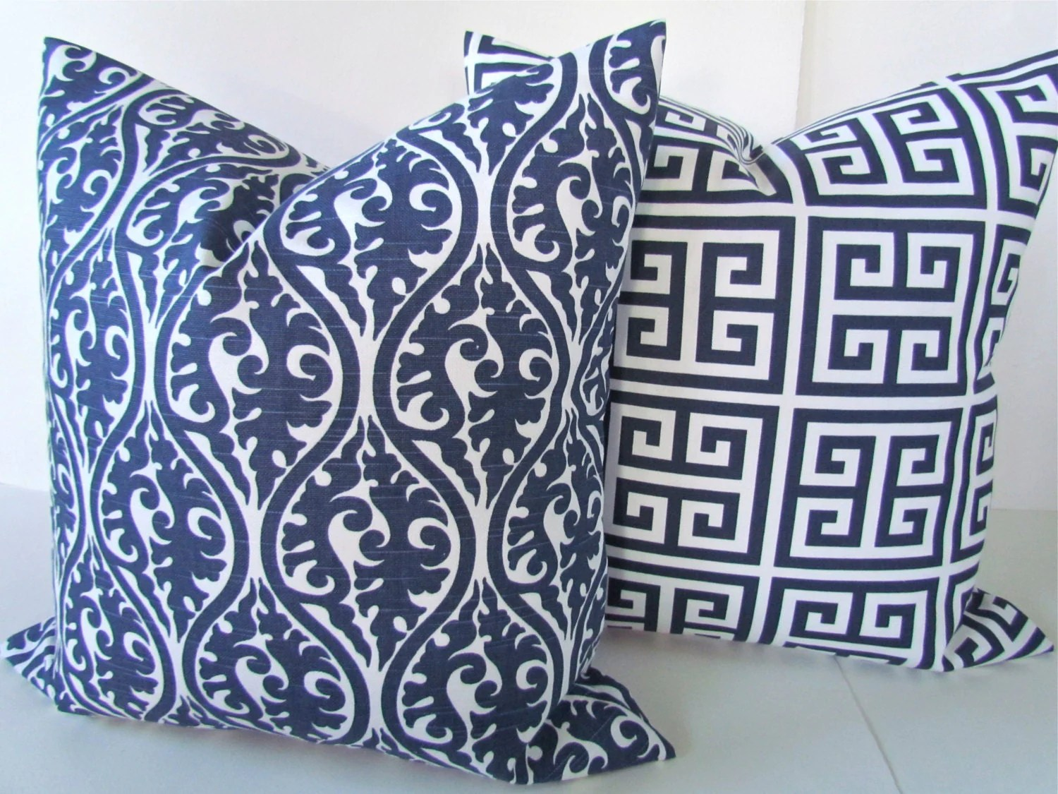 Blue Throw Black Pillows And