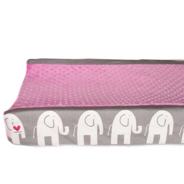 Grey elephant pink changing pad cover hot pink minky