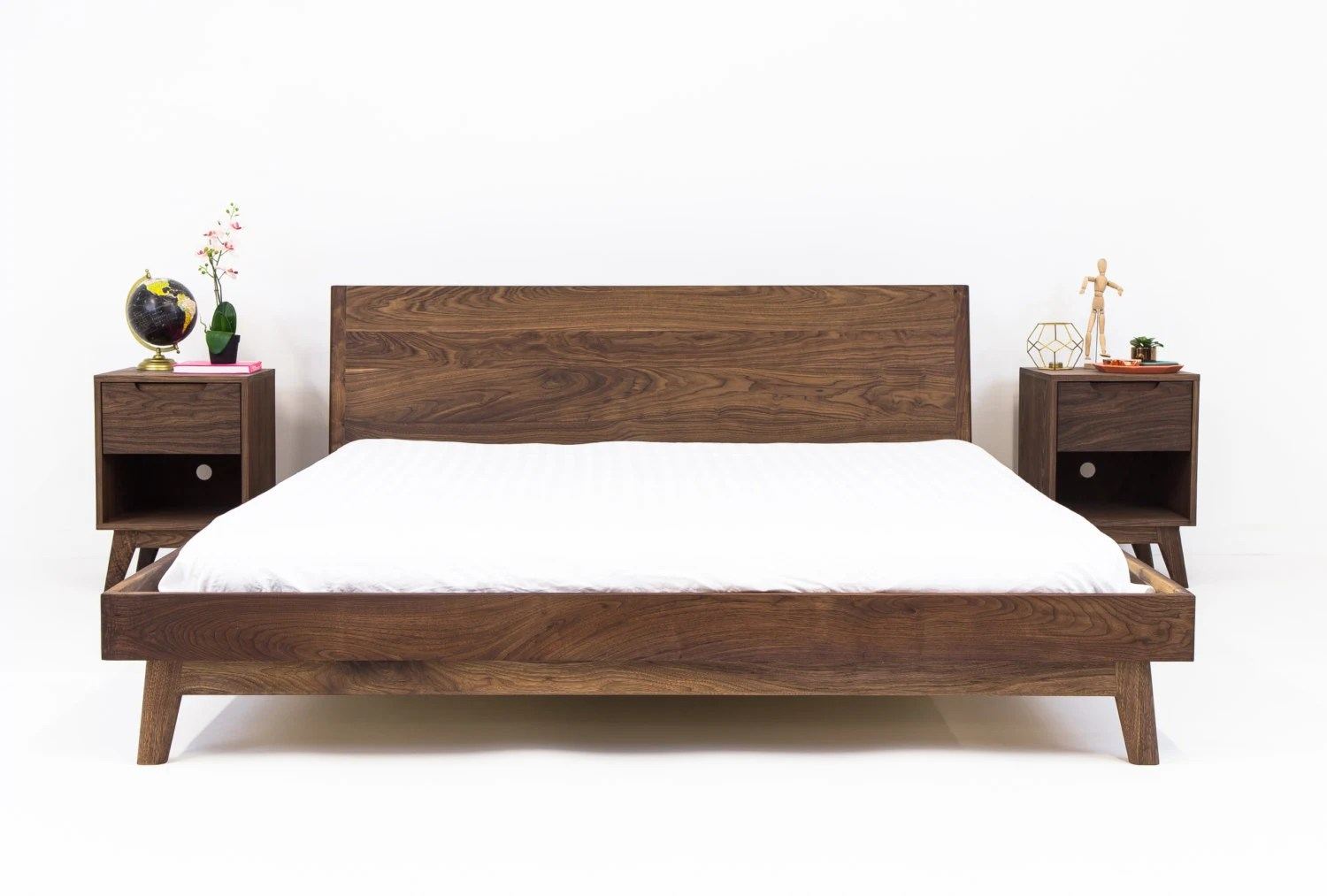 Modern Bed Bed Walnut Bed Midcentury Modern Bed By