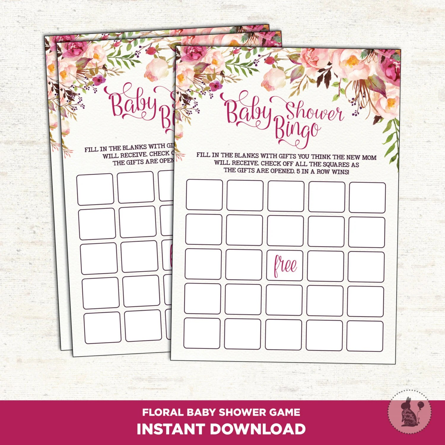 Baby Shower Bingo Game Bohemian Baby Shower Printables