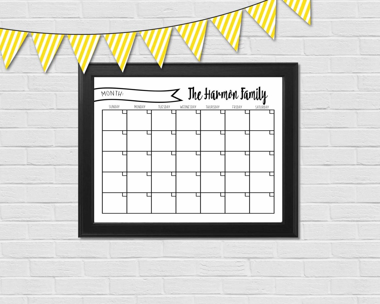 Dry Erase Calendar Printable Customizable Multiple Sizes