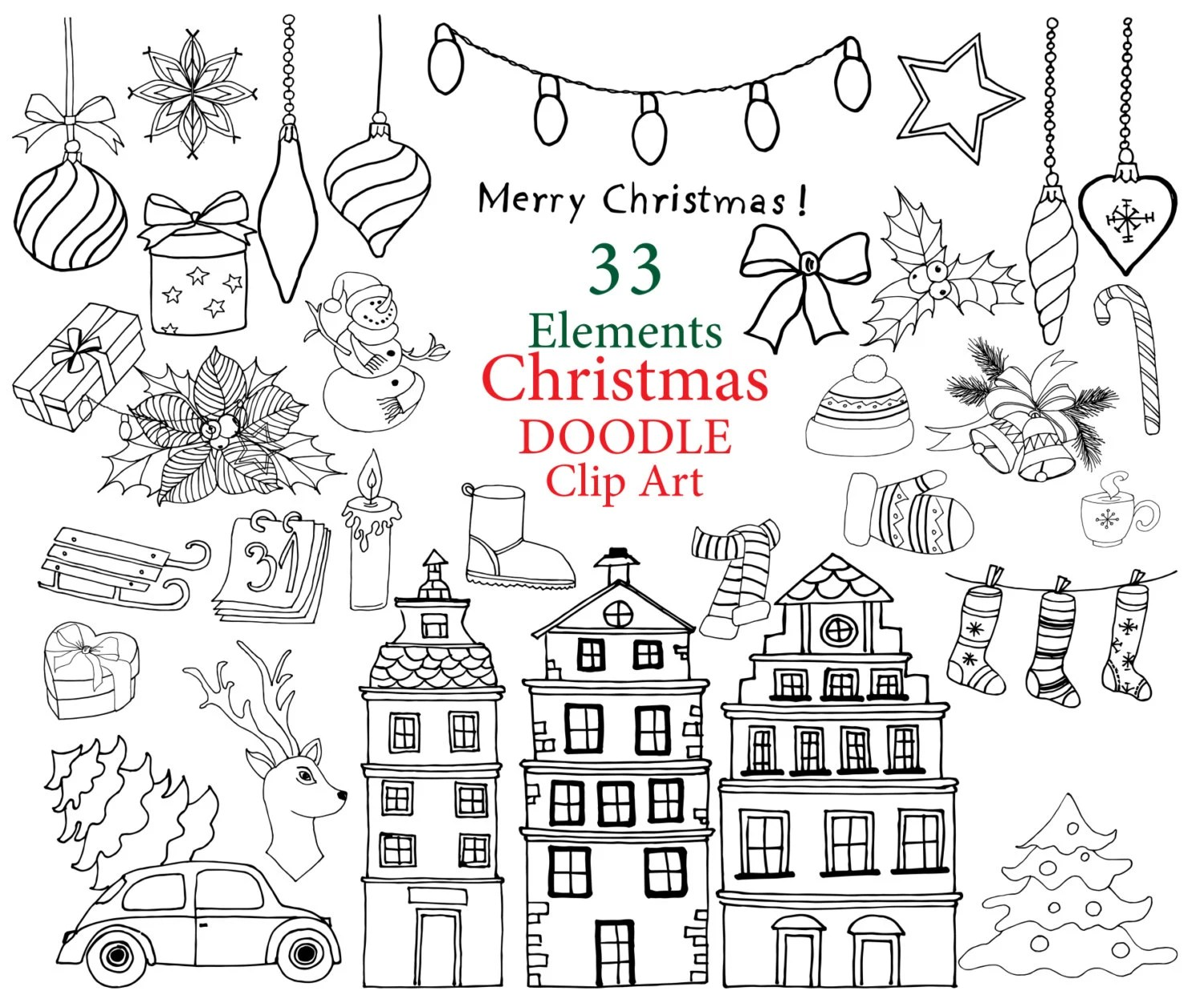 Christmas Doodle Clipart Christmas Clip Art Christmas
