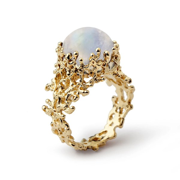 CORAL Rainbow Moonstone Ring Gold Moonstone Ring 14K by arosha