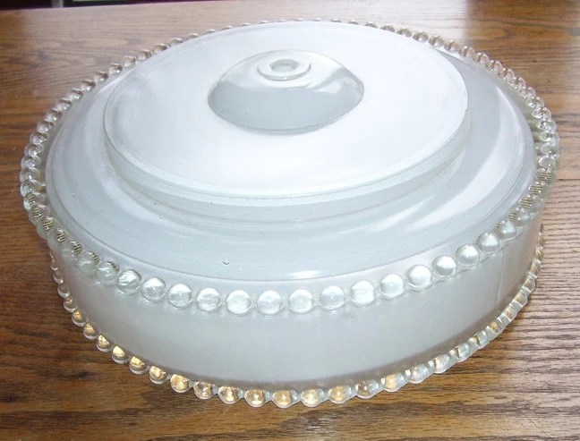 Vintage White Round Ceiling Light Fixture Cover Beaded Edge