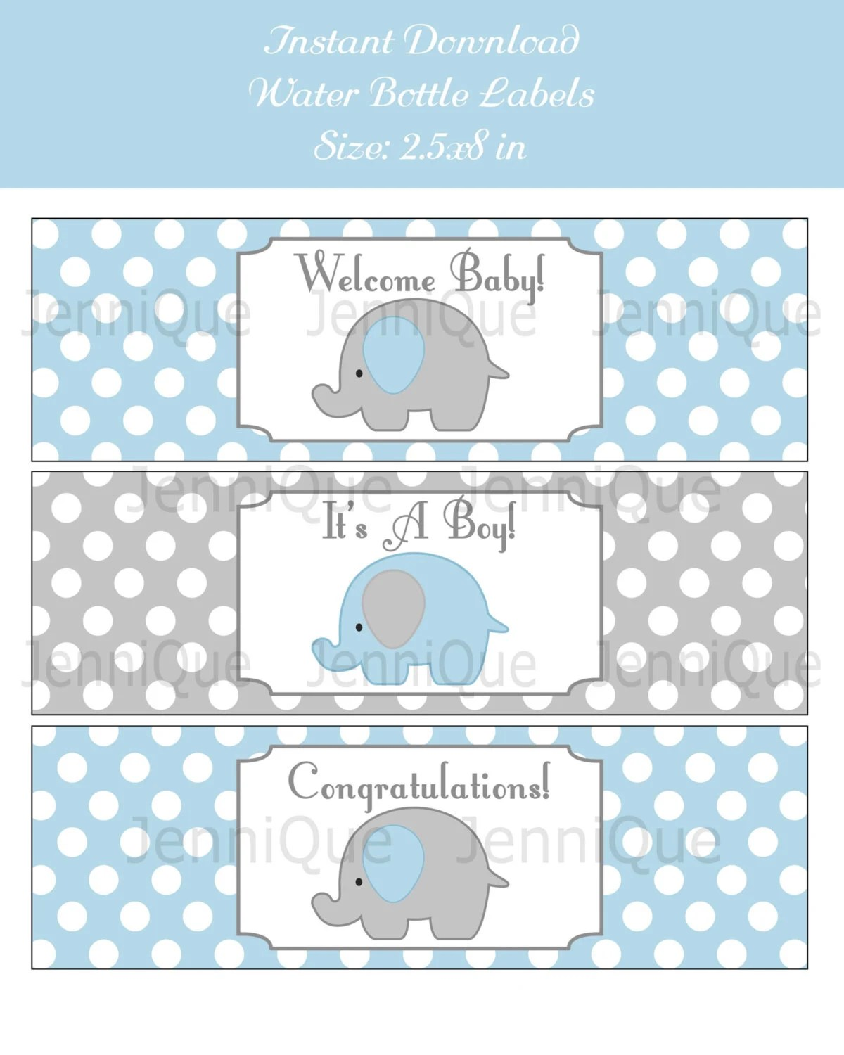 Printable Elephant Theme Baby Shower Printable Water Bottle