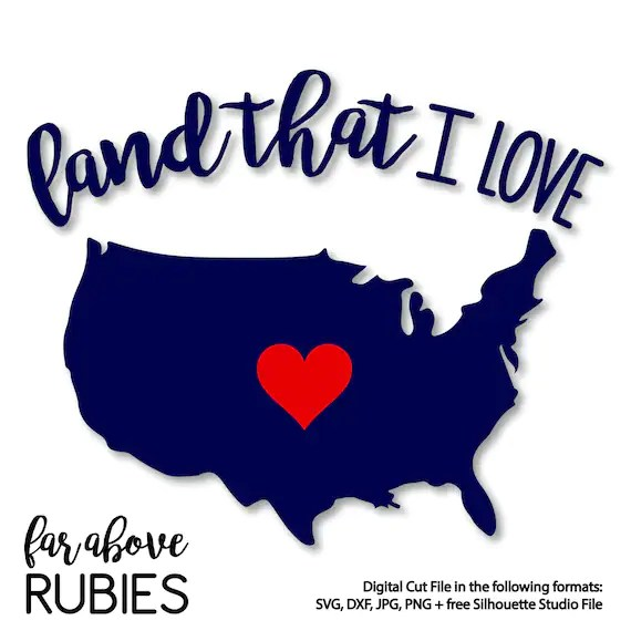 Download God Bless America Land That I Love USA Heart - SVG, DXF ...