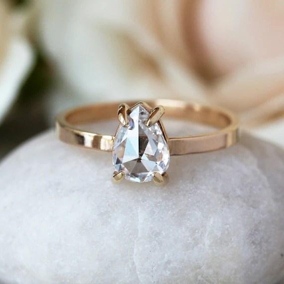 Pear Shaped Diamond Engagement Ring Rose Cut Diamond Ring