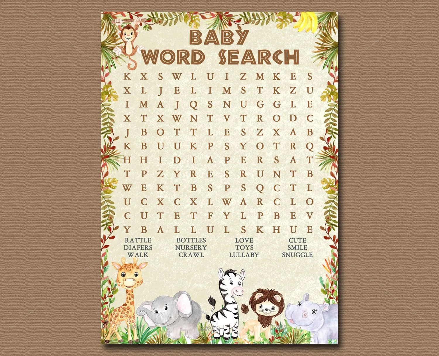 Baby Animal Word Search Daily Motivational Quotes