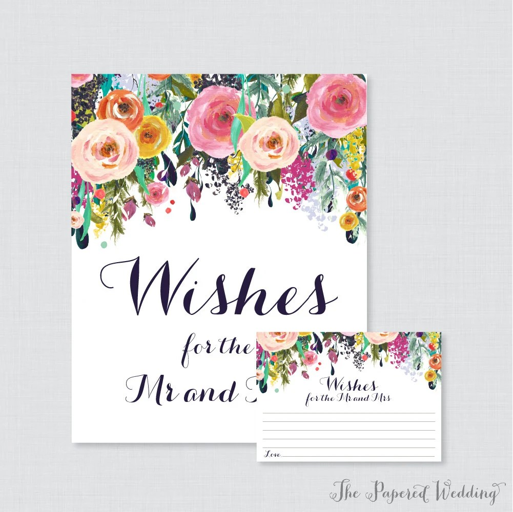Printable Wedding Wishes Cards Floral Wishes For The Mr And