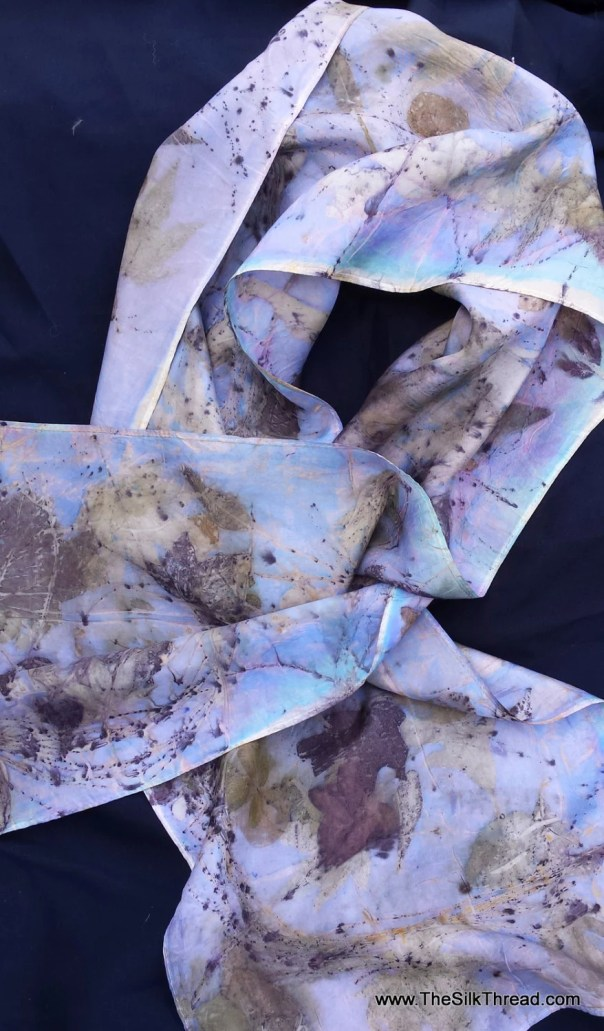 Blue Silk Scarf, ECOprinted with Nature's leaves, all natural colors, totally organic & renewable, sustainable art by artist,11 x 60, OOAK