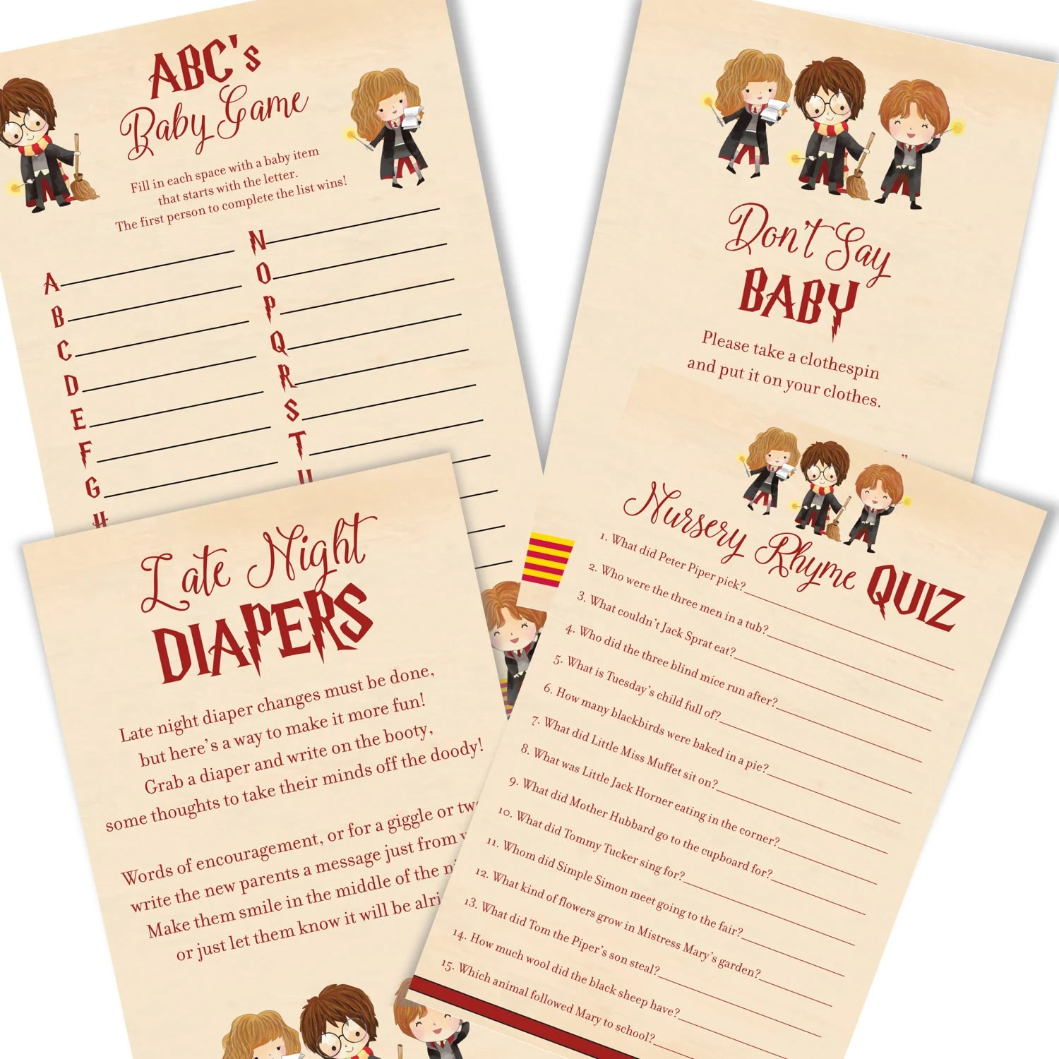 Delightful Harry Potter Baby Shower Games   Harry Potter Baby Shower Game Cards   Cute Harry  Potter ...
