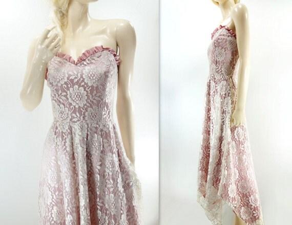 Lace Wedding Dress 80s Lace Midi Dress Tea Length Boho Wedding