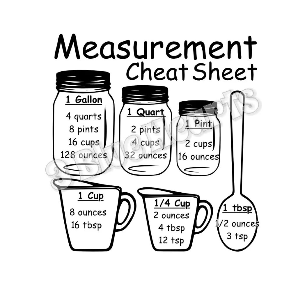 Measurement Cheat Sheet Svg Studio Dxf Cutting Board Svg