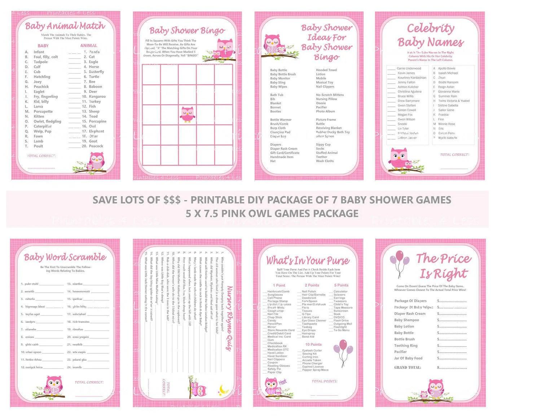 Pink Owl Baby Shower Game Printable Pink Owl Game Owl Theme