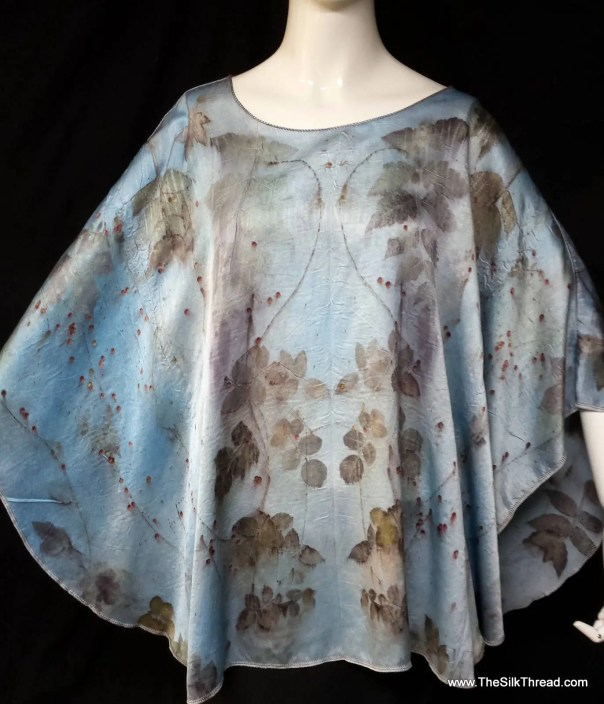 Stunning pale blue Silk wrap, poncho, hand crafted & eco printed leaf designs by artist, shimmery silk charmeuse, sustainable fashion