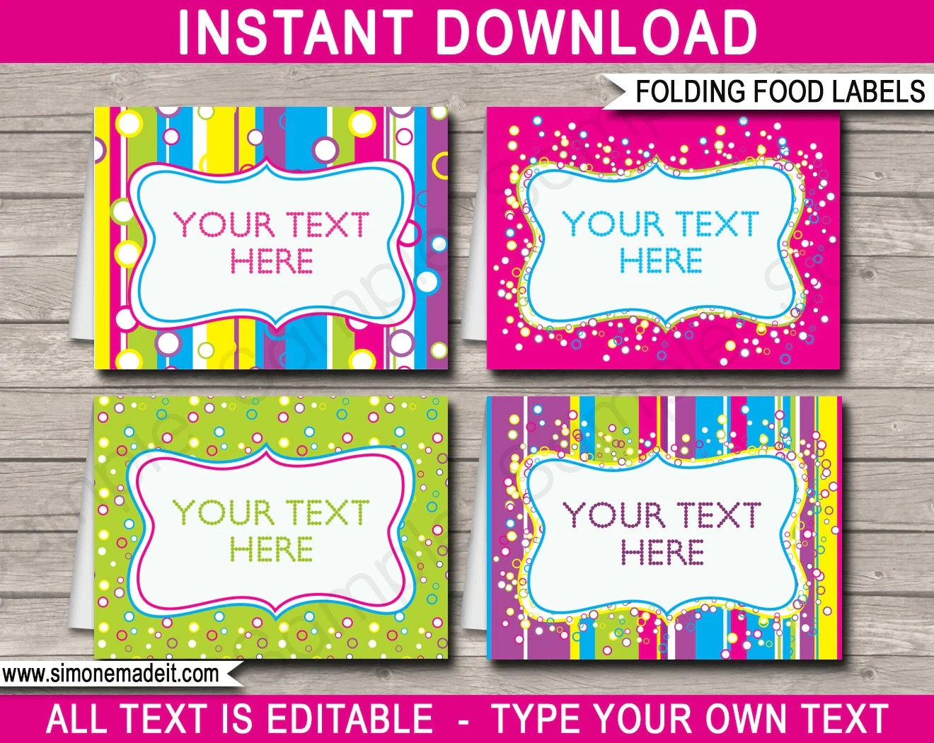Editable Food Labels Buffet Tags Tent Cards Party