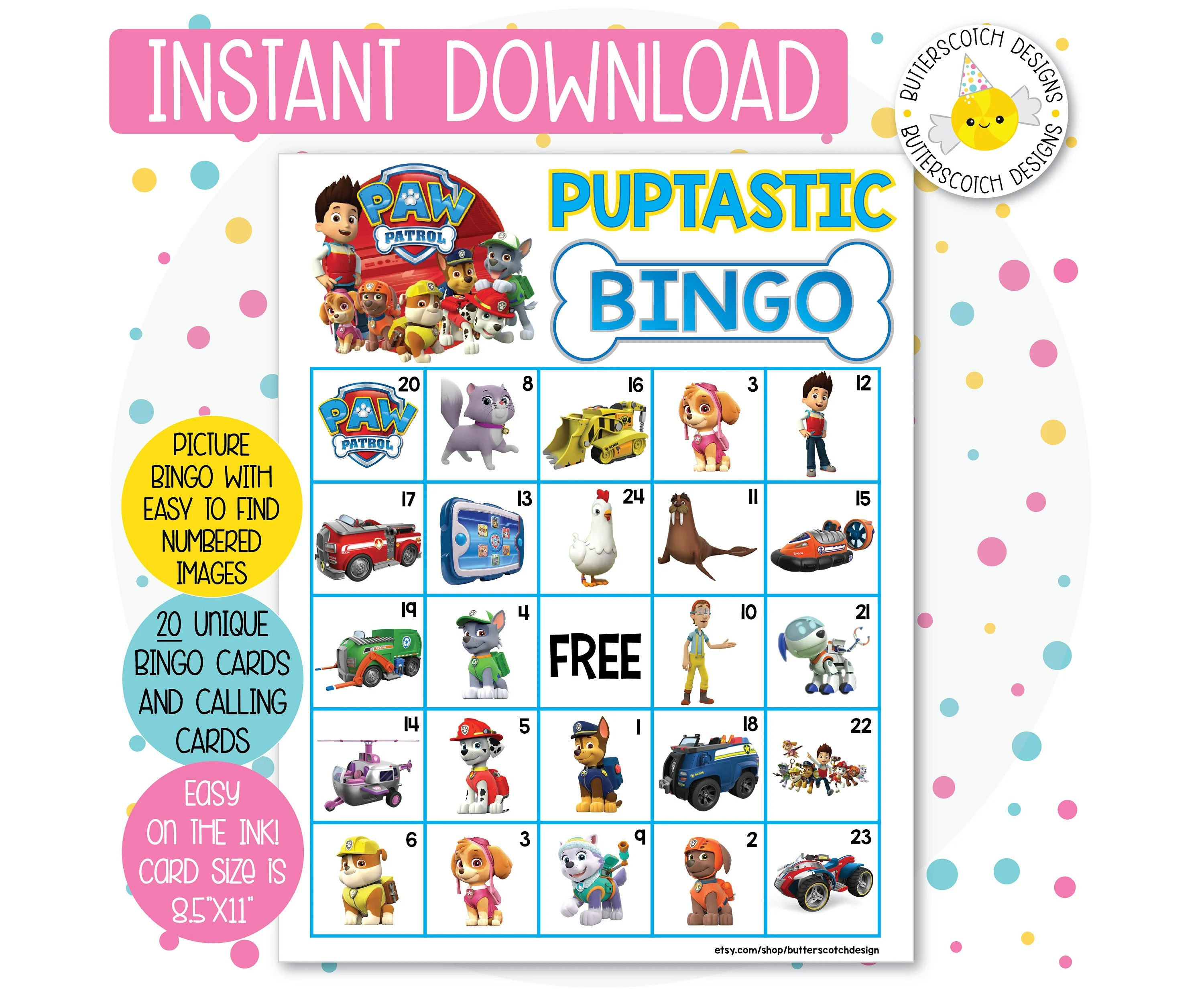 Paw Patrol Printable Bingo Cards 20 Different Cards