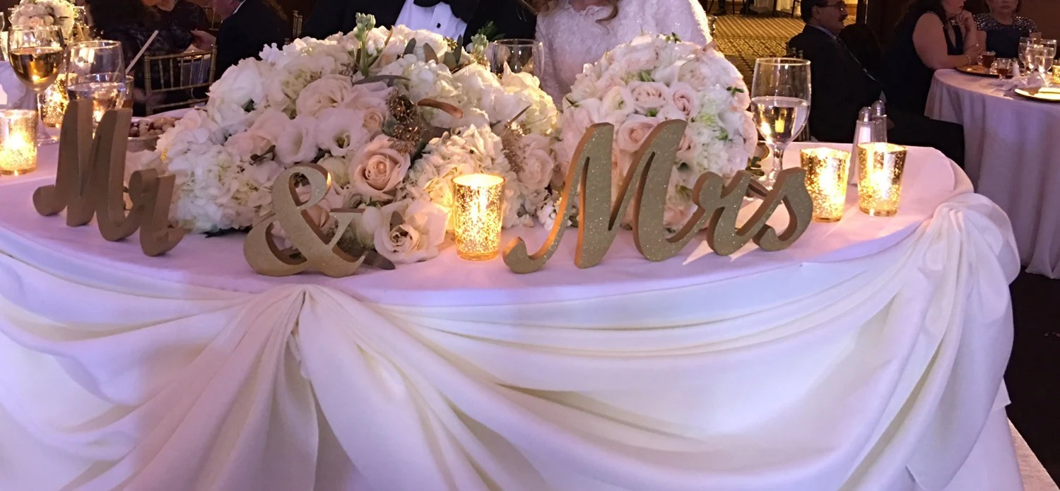 Mr. & Mrs. Letters Wooden Wedding Sign Gold Glitter. Standing