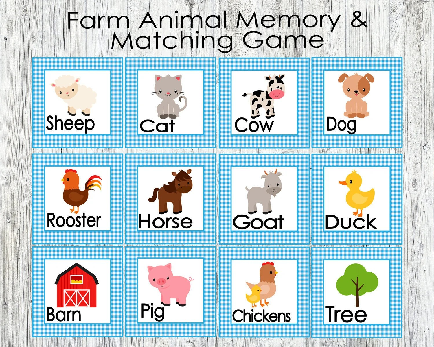 Blue Farm Animal Matching And Memory Game Printable Game For