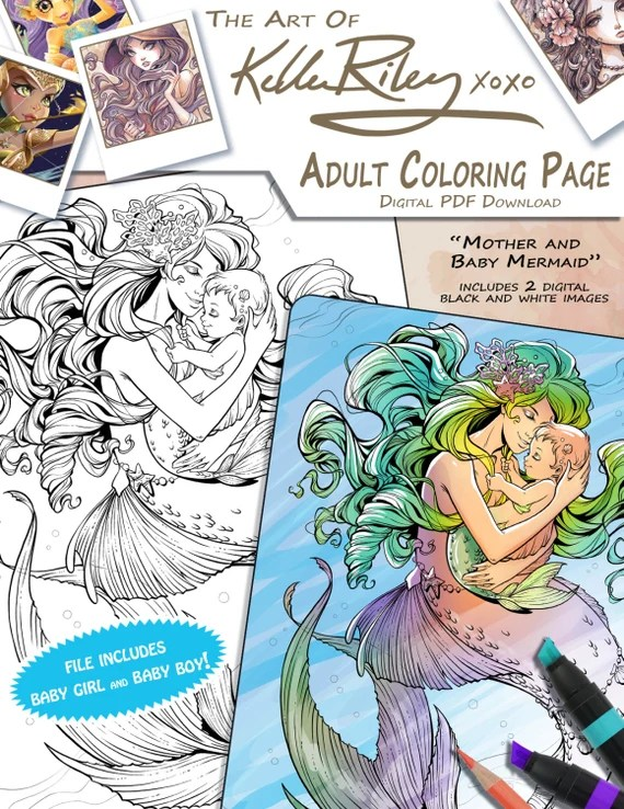 mother and baby mermaid adult coloring page