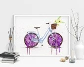 Bicycle Print. Purple Vin...