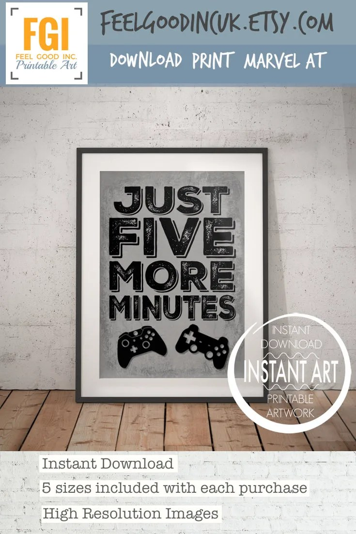 Video Game Controller Print Just Five More Minutes PS4