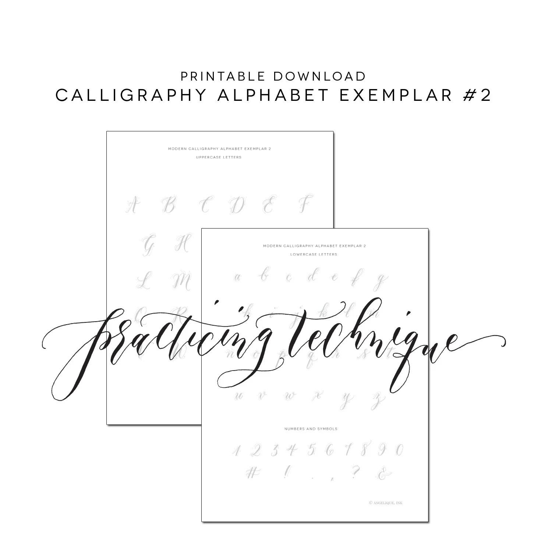 Calligraphy Alphabet Printable Practice Worksheet