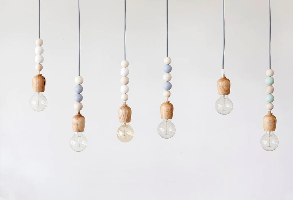 Wooden Light Fixture With Wooden Beaded Pendant Mint
