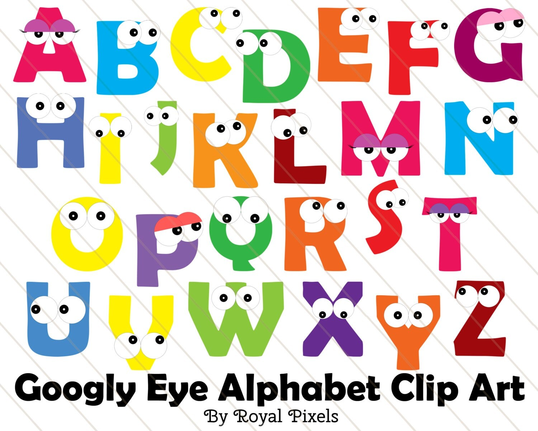 Googly Eye Alphabet Uppercase Clip Art 26 Letters