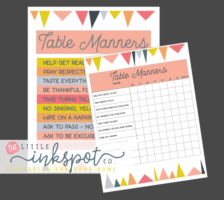 Kids Table Manners Set Of 2 Digital Printables Kids Chart