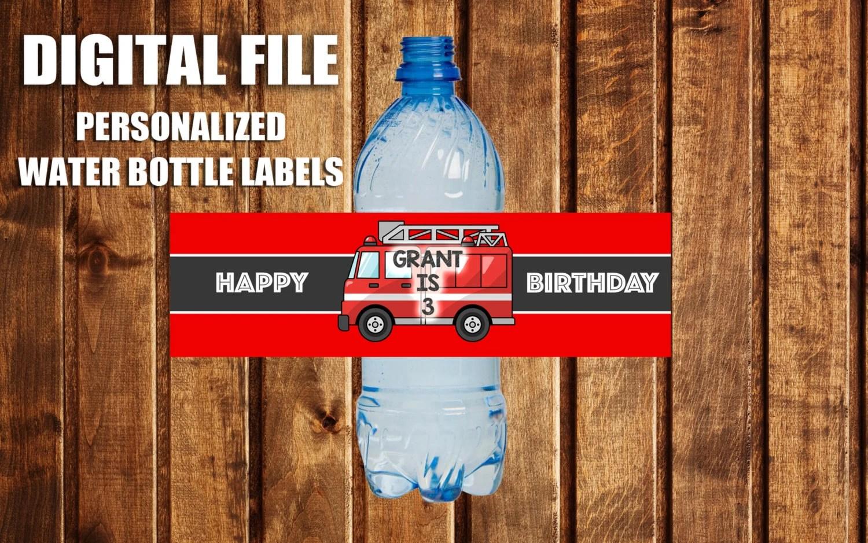 Fire Truck Bottle Label Fire Truck Birthday Fire Truck