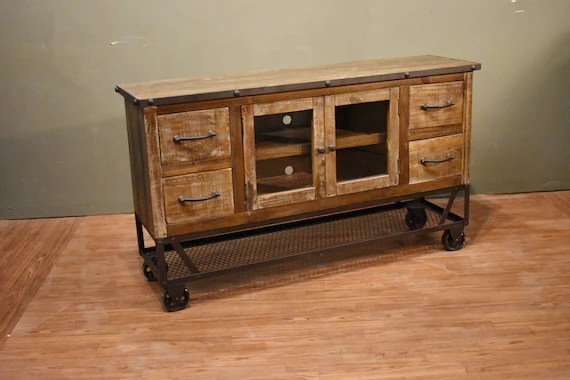 Industrial Rustic Reclaimed Wood 55 Inch TV Stand Media