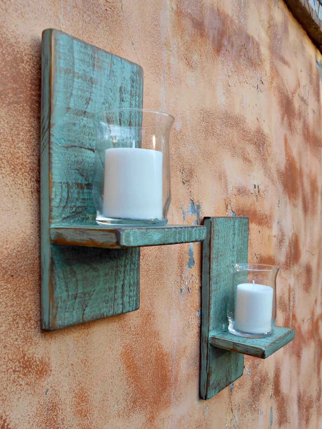 Wood Wall Sconce Rustic Candle Sconce Set of 2 Reclaimed on Wood Wall Sconces id=19882