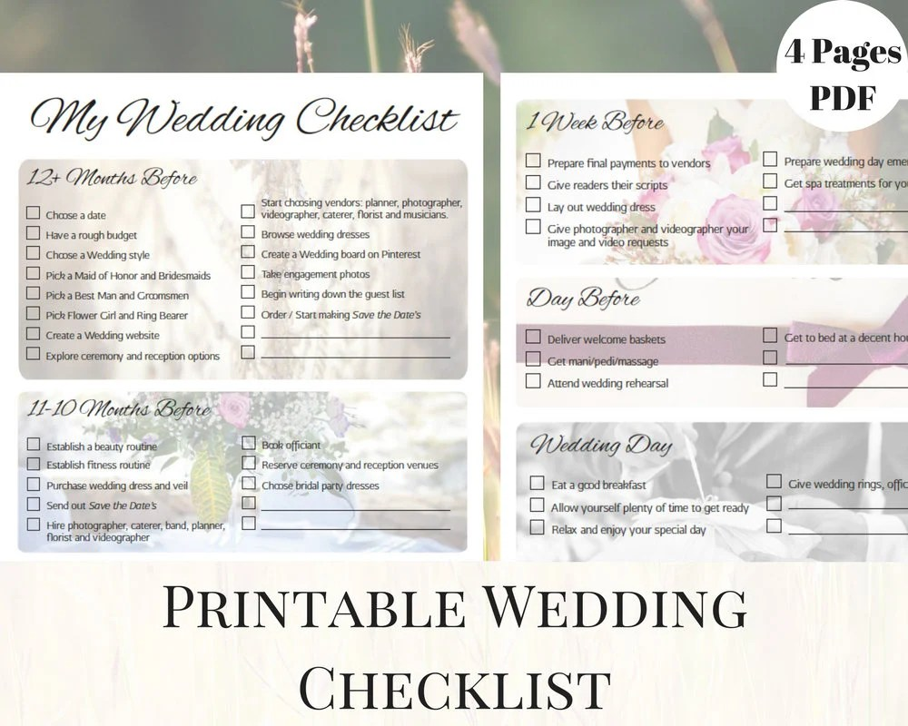 Wedding Checklist Printable Wedding Checklist Printable