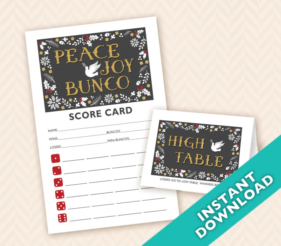 Peace Joy &  Bunco Scorec...