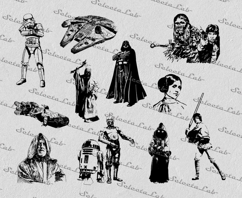 Digital Svg A New Hope Leia Kenobi Darth Vader Han
