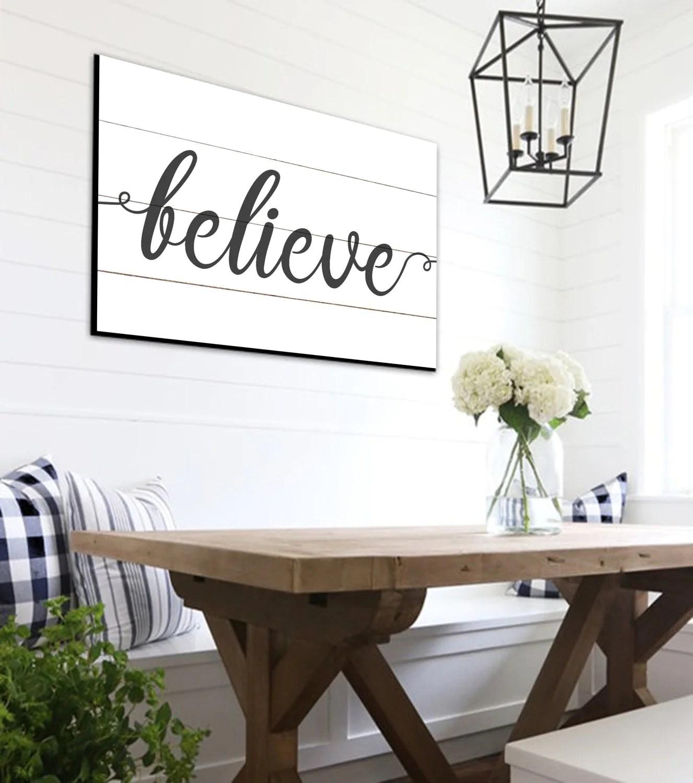 Believe Shiplap Sign Farmhouse Wall Decor Rustic Home Decor on Home Wall Decor Signs id=20844