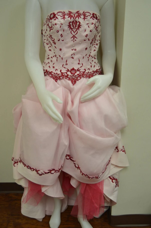 Strapless pink satin and ...