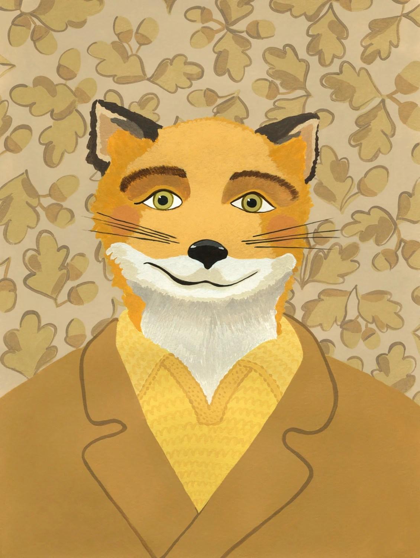 Fantastic Mr Fox Portrait Print Wes Anderson Art Fantastic