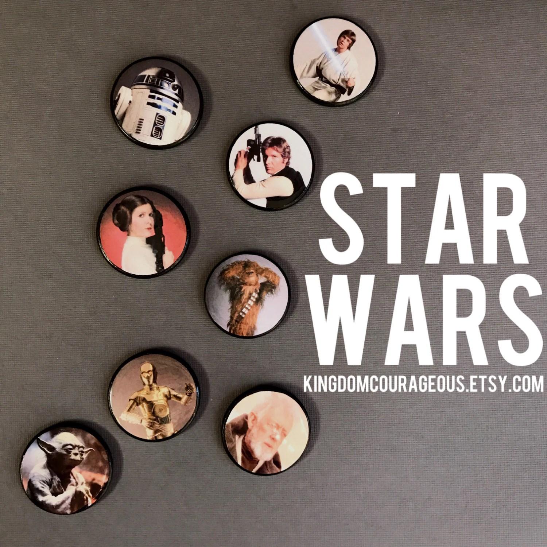 Original Star Wars Empire Magnet Pins Buttons Luke Skywalker